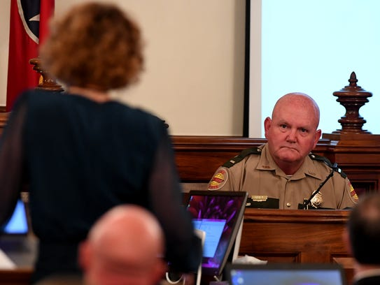 Jennifer Thompson, attorney for Zach Adams, questions
