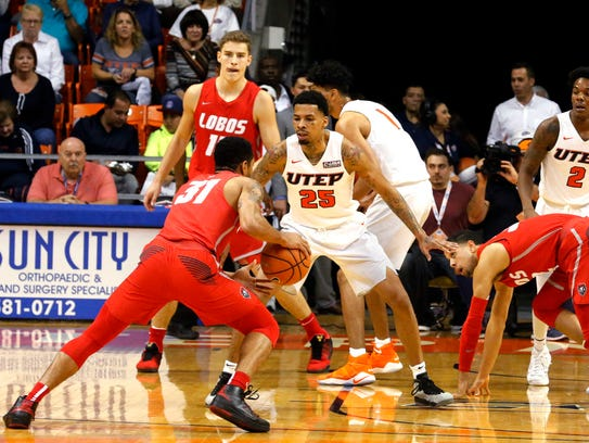 UTEP guard Keith Frazier applies the defensive pressure