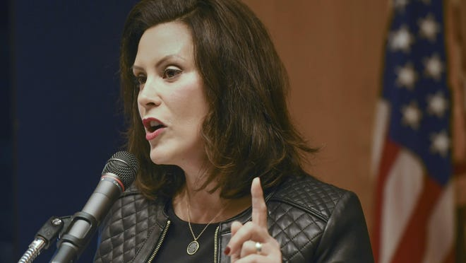 Michigan Gov. Gretchen Whitmer speaks about the state budget Tuesday, Oct. 1, 2019, during a press conference at the State Library and Michigan History Center in Lansing, Michigan.