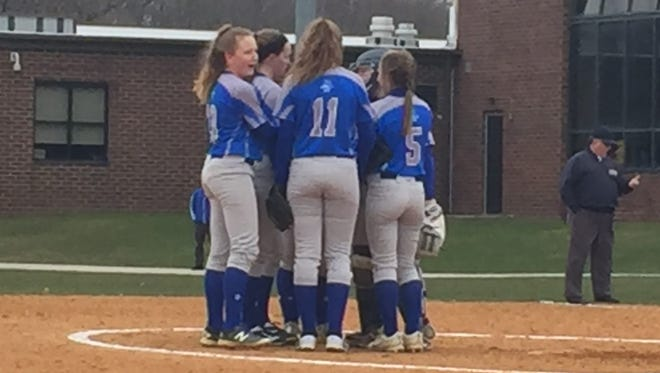 The Sayreville softball team plays against North Brunswick on Monday, April 9, 2018.