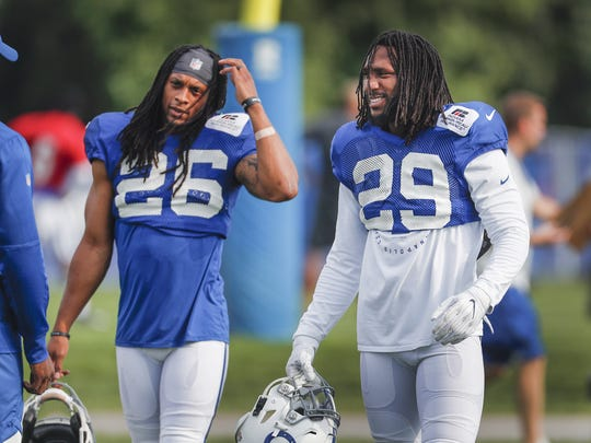 Indianapolis Colts Malik Hooker (29) and Clayton Geathers