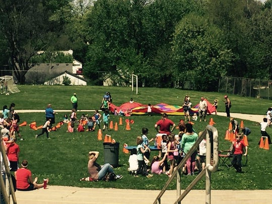 The annual K-2 Relays took place on the Perkins Elementary School lawn May 6. Students competed in events such as the potato sack dash, stir fry rubber chicken relay, parachute and spoon egg relay.