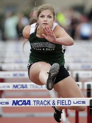 Adams-Friendship's Brooke Livingston competes in the Division 2 100-meter hurdles final Saturday at the WIAA state track and field meet at Veterans Memorial Stadium in La Crosse.