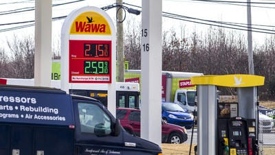 A gallon of regular gasoline was selling for $2.15 at the Wawa on Basin Road near New Castle on Wednesday.