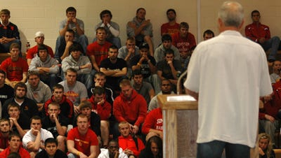 Joe Blake speaks at a Simpson College athletics banquet in 2012. Former Simpson pitcher Aaron Young, played for Blake, the longtime Simpson pitching coach, and is in the crowd.