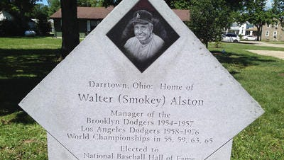 A monument dedicated to Walter Alston's Hall of Fame managerial career in the center of Darrtown, Ohio.