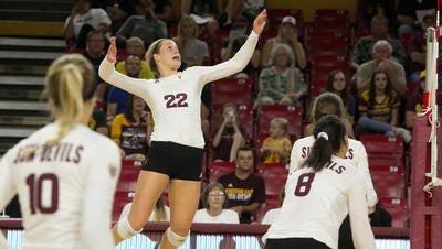Cassidy Pickrell had a team-high 10 kills Friday night in No. 20 ASU volleyball's 3-0 loss to No. 3 Washington.