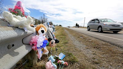 A makeshift memorial was left last March at the scene of the accident.