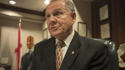 Alabama Chief Justice Roy Moore discusses his views on the U.S. Supreme Court's ruling that all 50 states must accept gay marriage on Friday, June 26, 2015.