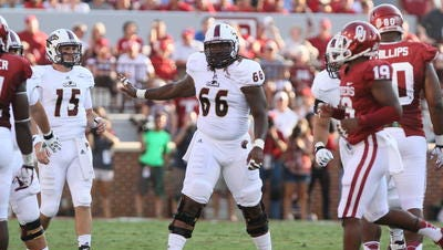 Allen (66) started every game at center for ULM over the final two seasons of his college career.