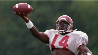 Booker (14) came to ULM as a quarterback but left as one of the best wide receivers to ever walk through the doors of Malone Stadium.