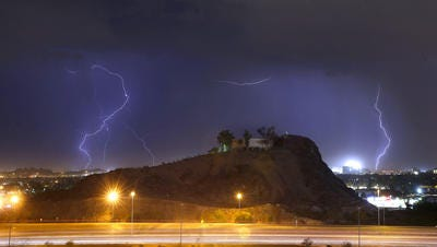 A monsoon storm blows in over Interstate 10 near Tempe Wednesday, June 29, 2016.