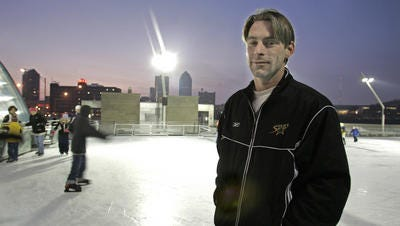 Frank Meeink at the Brenton Skating Plaza in 2007. Meeink, a former Skinhead is now a human rights advocate. He also helped to start the Harmony Through Hockey program. The program brings together disadvantaged children and teaches them life lessons as they learn to play hockey.