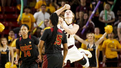 Sophie Brunner made a 70-foot buzzer beater at the end of the third quarter Friday in Arizona State's 69-62 win over USC.