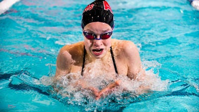 Bishopr Ahr's Sarah Hardy swims in the 200 IM during the GMC Championships in 2016.