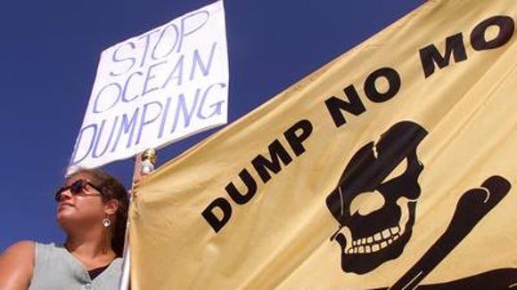 A rally against ocean dumping on Sandy Hook in 2000