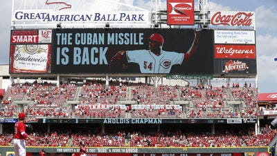 The Great American Ball Park scoreboard announced the arrival of Aroldis Chapman, who proceeded to strike out the side for his save.