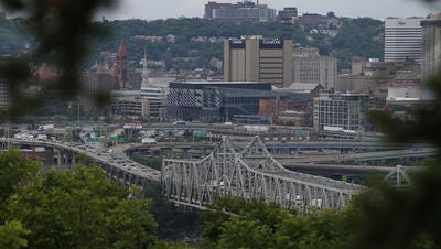 The Brent Spence Bridge, as seen from Devou Park in Covington, carries local commuters and billions in interstate commerce.