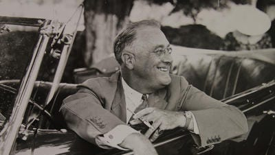 President Franklin Roosevelt at his home in Hyde Park, NY, 1937