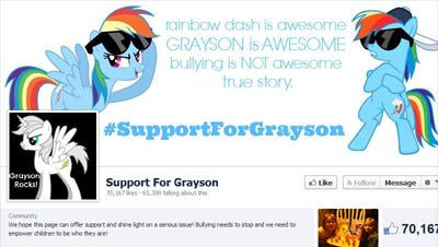 A Facebook screen shot shows a page created in support of boy who want to carry his My Little Pony backpack to school.