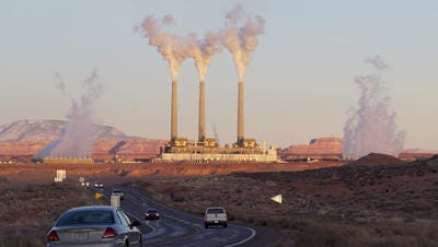 The coal-fired Navajo Generating Station power plant near Page.