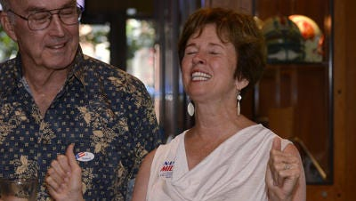 Tallahassee City Commissioner Nancy Miller celebrates her primary victory Tuesday.