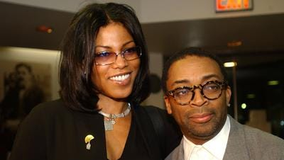 Malcolm X's daughter Ilyasah Shabazz, left, and Director Spike Lee, arrive at the Schomberg Center for Research in Black Culture to commemorate the 40th anniversary of Malcom X's death and to pay special tribute to the late Ossie Davis, Monday, Feb. 7, 2005, in New York's Harlem neighborhood.