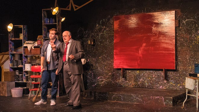 "Matt Frye (left) attends Drew Brhel, who portrays troubled artist Mark Rothko in Third Avenue Playhouse's production of ""Red."""