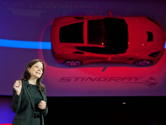 Mary Barra, GM senior vice president of Global Product Development, introduces the Chevrolet 2014 C7 Corvette Stingray at the 2013 North American International Auto Show in Detroit on Jan. 14, 2013. GM announced on Dec. 10 that Barra, 51, has been named the new CEO. She takes over Jan. 15. It will be the first time a woman will hold the top job at a major automaker.
