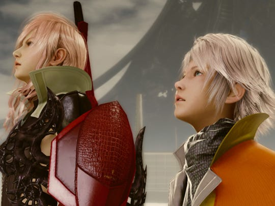"Lightning, left, and Hope, right, are tasked with finding ways to save humanity before the world ends in ""Lightning Returns: Final Fantasy XIII."""