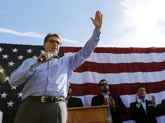 "Presidential hopeful former Texas Gov. Rick Perry speaks during a cookout and rally at the Nashua Community College in Nashua, New Hampshire, Sunday, June 7, 2015. Perry has opened his second bid for the Republican presidential nomination pledging to ""end an era of failed leadership""."