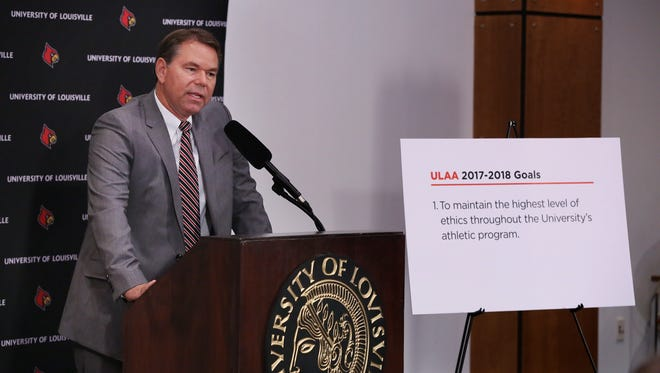 Vince Tyra addressed the media after being named the University of Louisville acting athletic director.Oct. 3, 2017