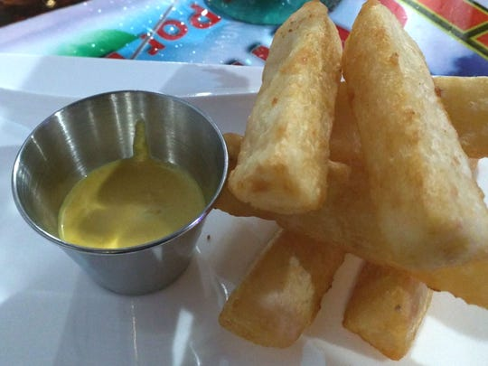 Inti's yuca, fried cassava root that tastes a bit like a thick, creamy French fry.