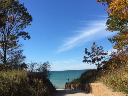 The path the leads down to Van Buren State Park's beach is temporarily closed due to erosion. Enquirer file