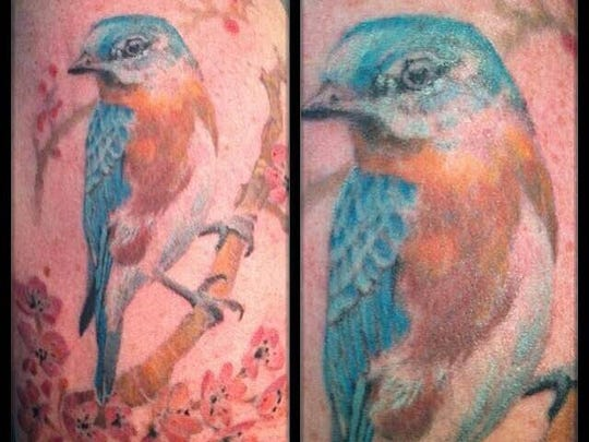 A more traditionally located tattoo by Amy Black.