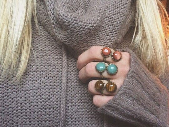 Mirror image rings made with semi-precious stones by Ashley's Handmade Designs. Rings cost $20 each.