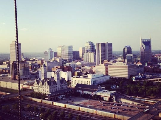 An evening view of Nashville from the 23rd floor of