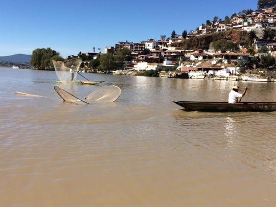 Net fishing in Lake Patzcuaro off Janitzio island.