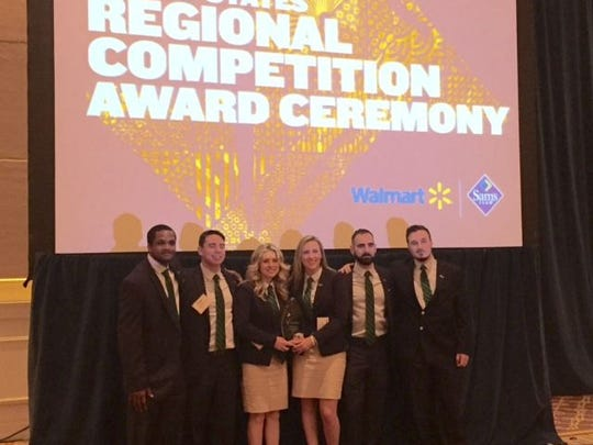 RVCC Enactus team members, from left, Tyler George of Bridgewater, Tyler Vaughn  of Phillipsburg, Teal Nicholson of Whitehouse Station, Stephanie Altholtz of Hillsborough, Justin Suriano of Gladstone, and Frank Pongratz of Bridgewater, celebrate after being named Regional Champion at the Enactus United States Regional Competition, held March 29 in Washington, DC. Team member Stephen Hicks of Hillsborough is not pictured.
