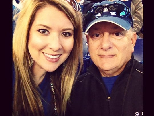 One America's Aly Strapulos and her dad Jim Strapulos at an Indianapolis Colts game.