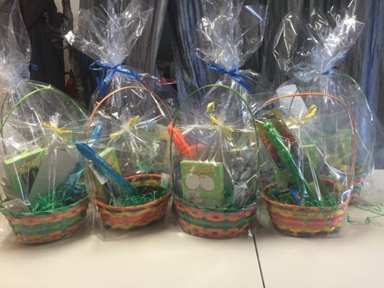 Easter baskets created by Dunellen kids for children at the Feeding Hands Pantry at the Emmanuel Church in Somerville.