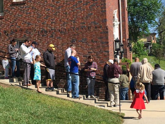 A portion of the line around Hoyt Sherman Friday morning