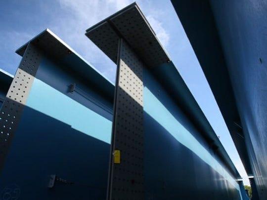 Steel girders for the new Tappan Zee Bridge are assembled