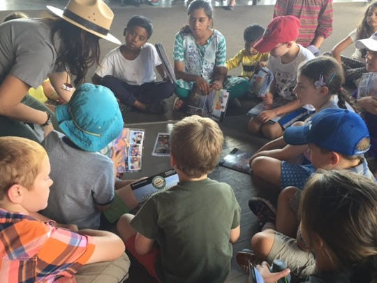 Children learn about the geology of the Grand Canyon