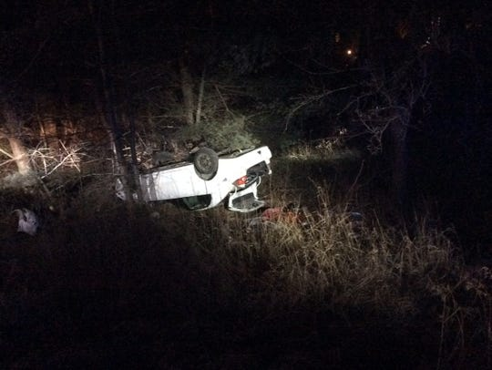 Burlington police shared this photo of a rollover crash