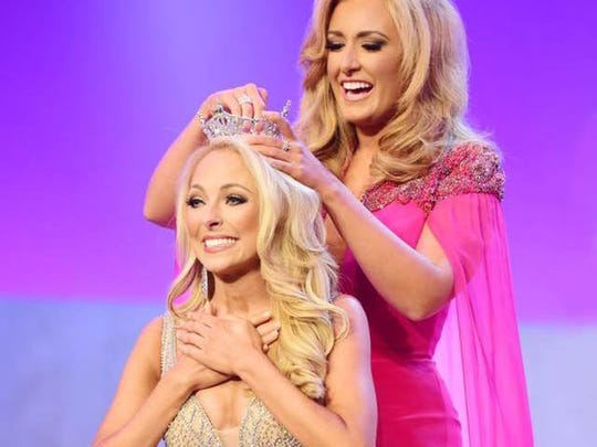 Caty Davis is crowned Miss Tennessee 2017 by the reigning Miss Tennessee, Grace Burgess, on June 24 at the Miss Tennessee Scholarship Pageant at the Carl Perkins Civic Center in Jackson, Tenn.