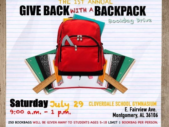 Give Back with a Backpack school supplies drive this Saturday.