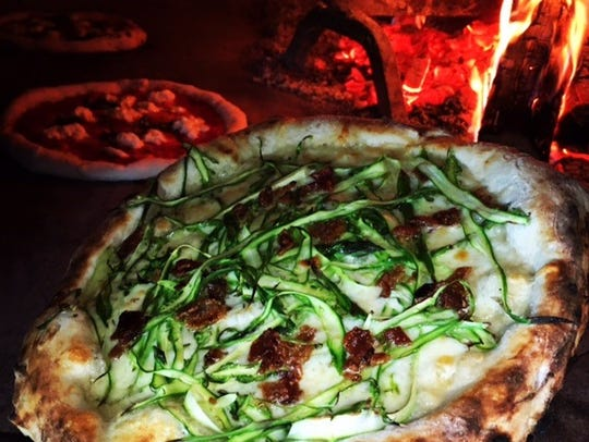 Shaved asparagus flatbread from Fired Up Flatbread