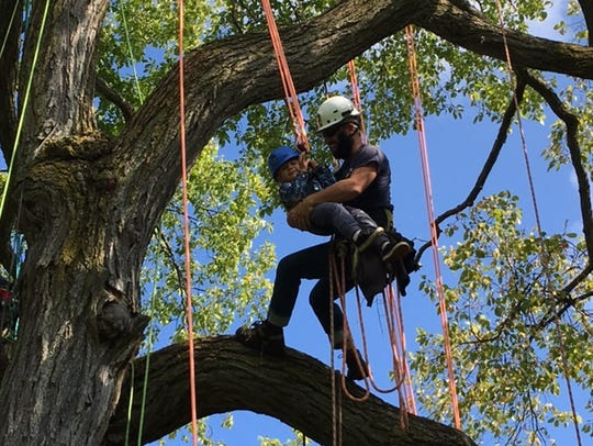 Jason Resch of Hoppe tree Services, does some tree