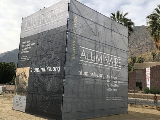 A graphic display of the Aluminaire House has been constructed in the community park across from the Palm Springs Art Museum for Modernism Week.
